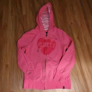 Pink zip up Hurley Hoodie